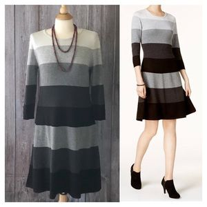 Jessica Howard Striped Fit and Flare Sweater Dress